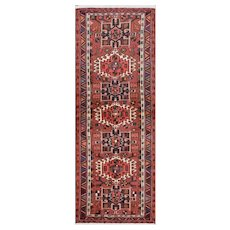 Vintage Persian Karajeh Runner, 3'x6', Red/Blue, All wool pile