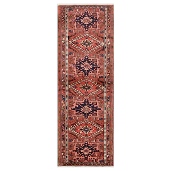 Vintage Persian Karajeh Runner, 2'4''x6'8'', Red, All wool pile