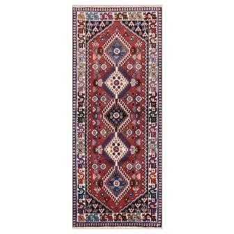 Authentic Persian Yalameh Runner, 3'x7', Red/Ivory, All wool pile