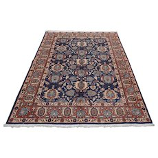 Fine Persian Varamin Rug, 5'x7', Blue/Red, All wool pile