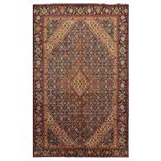 Vintage Persian Tabriz Rug, 6' x 10', Blue, All wool pile