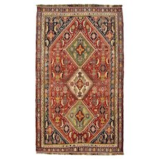 Vintage Persian Qashqai Rug, 5'x8', Red/Brown, All wool pile