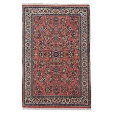 Vintage Persian Sarouk Rug, 4'x6', Hand-Knotted