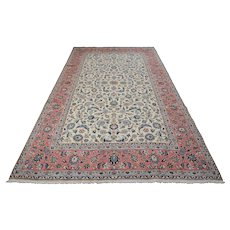Authentic Persian Sarouk Rug, 7'x10', Ivory/Pink, All wool pile