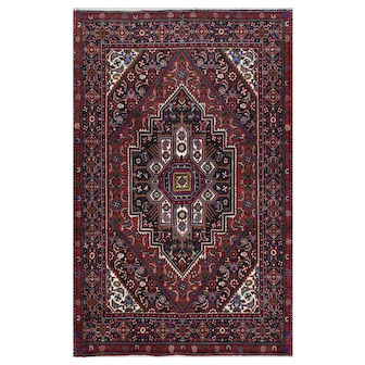 Authentic Persian Goltugh Rug, 3'x5', Red/Black, All wool pile