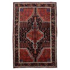 Persian Hamadan Rug, 5'x8', Black, Hand-Knotted
