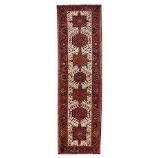 Vintage Persian Heriz Runner, 3' x 11', Ivory/Blue, All wool pile