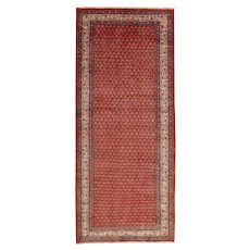 Vintage Persian Mir Runner, 4'x10', Hand-Knotted