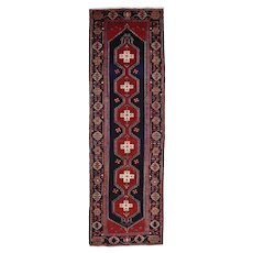Vintage Persian Hamadan Runner, 4'x12', Hand-Knotted Wool Pile