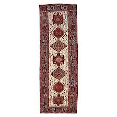 Persian Heriz Runner, 4'x11', Ivory/Blue, Hand-Knotted