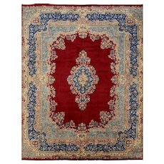Persian Kerman Rug, 13'x17', Red/Blue, Hand-Knotted