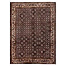 Fine Persian Bidjar Rug, 9' x 12', Blue/Ivory, All wool pile