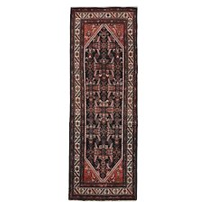 Persian Hamadan Runner, 4'x10', Blue/Ivory, Hand-Knotted