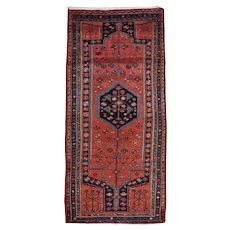 Vintage Persian Hamadan Runner, 4'x10', Hand-Knotted Wool Pile