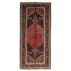 Vintage Persian Hamadan Rug, 5'x11', Hand-Knotted