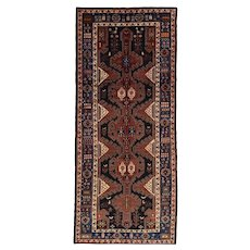 Vintage Persian Hamadan Rug, 5'x12', Hand-Knotted
