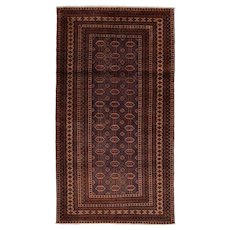 Vintage Persian Baluch Rug, 4'1'' x 7'5'', Blue/Beige, Hand-Knotted Wool Pile