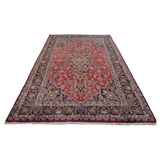 Vintage Persian Mashad Rug, 6'5''x9'8'', Red/Blue, All wool pile
