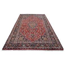 Vintage Persian Mashad Rug, 6'5''x9'8'', Red/Blue, All wool pile