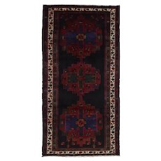 Vintage Persian Hamadan Rug, 5'x10', Hand-Knotted Wool Pile
