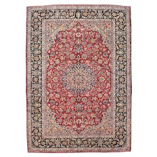 Vintage Persian Kashan Rug, 10'x14', Hand-Knotted