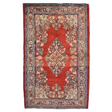 Vintage Persian Malayer Rug, 4' x 7', Red/Blue, All wool pile