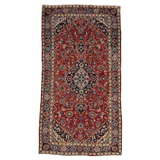 Vintage Persian Kashan Rug, 4'x8', Hand-Knotted