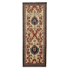 Vintage Persian Heriz Runner, 4'x12', Hand-Knotted