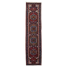 Vintage Persian Meshkin Runner, 3'x13', Hand-Knotted
