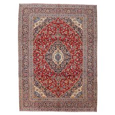 Vintage Persian Kashan Rug, 9'x13', Hand-Knotted