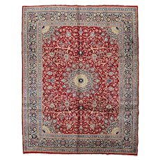 Vintage Persian Mashad Rug, 10'x13', Hand-Knotted