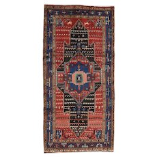 Vintage Persian Hamadan Rug, 5'x9', Hand-Knotted Wool Pile