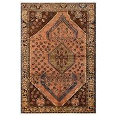 Vintage Persian Qashqai Rug, 5' x 7', Coral/Beige, All wool pile