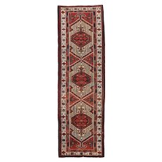 Persian Heriz Runner, 3' x 11', Red/Ivory, Hand-Knotted Wool Pile