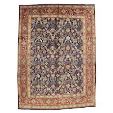 Vintage Persian Tabriz Rug, 9'x13', Hand-Knotted