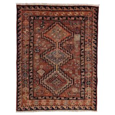 Vintage Persian Hamadan Rug, 4'x5', Hand-Knotted Wool Pile