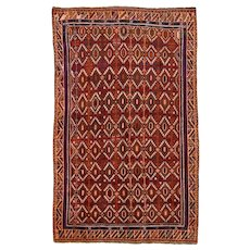 Vintage Persian Qashqai Rug, 5' x 8', Red/Ivory, All wool pile