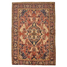 Vintage Persian Malayer Rug, 5' x 7', Red/Blue, All wool pile