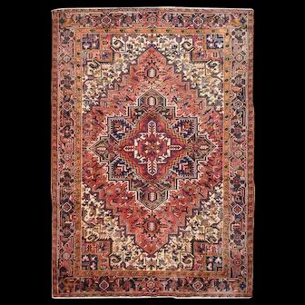 Vintage Persian Heriz Rug, 8'x11', Red/Black, All wool pile