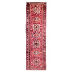 Vintage Persian Karajeh Runner, 3'x11', Red/Blue, All wool pile