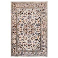 Vintage Persian Kashan Rug, 3'x5', Ivory/Beige, All wool pile