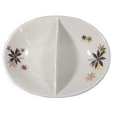 "Divided serving bowl marked ""Peter Terris original"""
