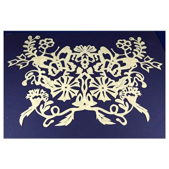 Signed hand cut Paper by Livengood,  Flower and butterfly design.