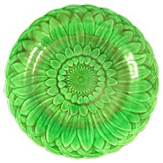 Vibrant green plate marked Wedgwood
