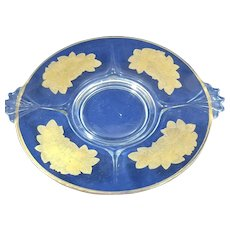 Etched glass platter with gilded apples, pears, and grapes.  13 inches from handle to handle across.