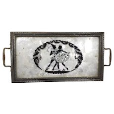 Vintage tray with glass top