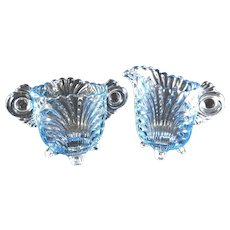 13.13 Blue Glass Creamer and sugar set,  four footed,  3 inches high