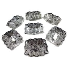Set of 7 Vintage small decorative glass bowls- each measures 4.75 x 3.75 inches