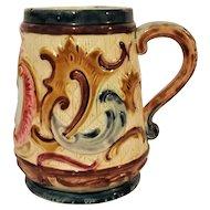 Continental Portrait Majolica Handled Mug