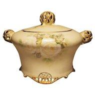 Royal Bayreuth Old Ivory RARE Cracker Jar